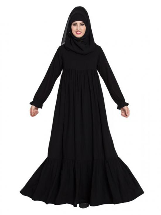 Nida Matte Comfort Fit Abaya With Flexible Sleeves In Black