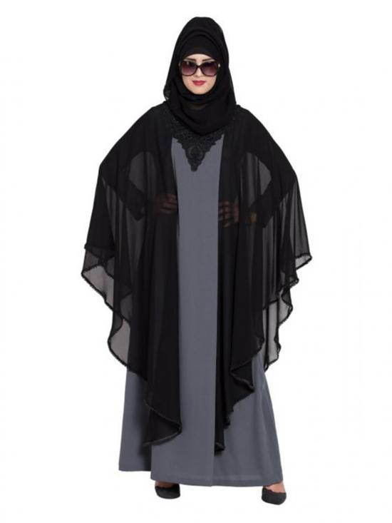 Georgette Dubai Style Designer Abaya With Pearl Lace And Yoke In Grey And Black