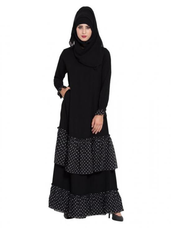 Georgette Abaya With Contrast Polka Layers In Black