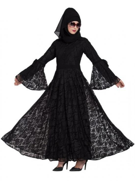 Nida Matte Dubai Style Designer Abaya With Bell Sleeves In Black