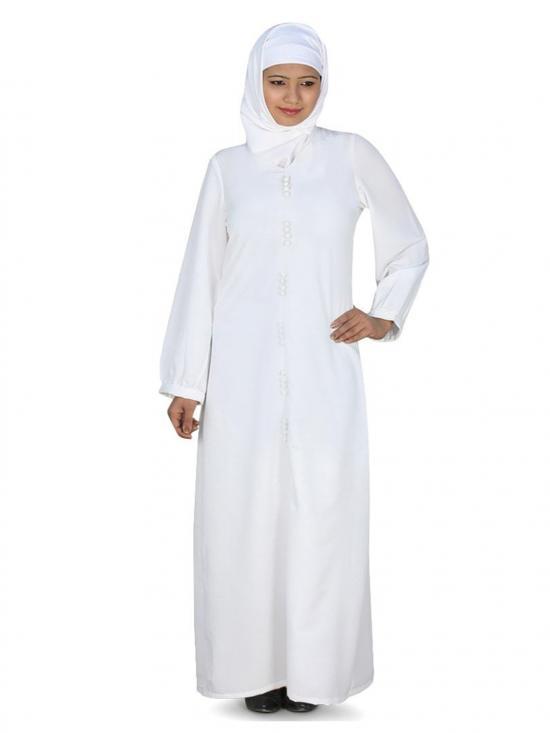 Nida Matte Azzeza Abaya In White