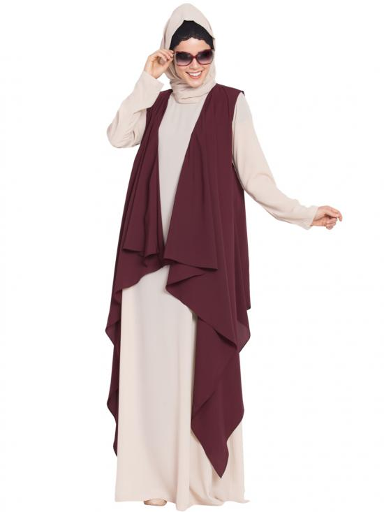 Nida Mate Aida Sleeveless Free Size Shrug In Wine