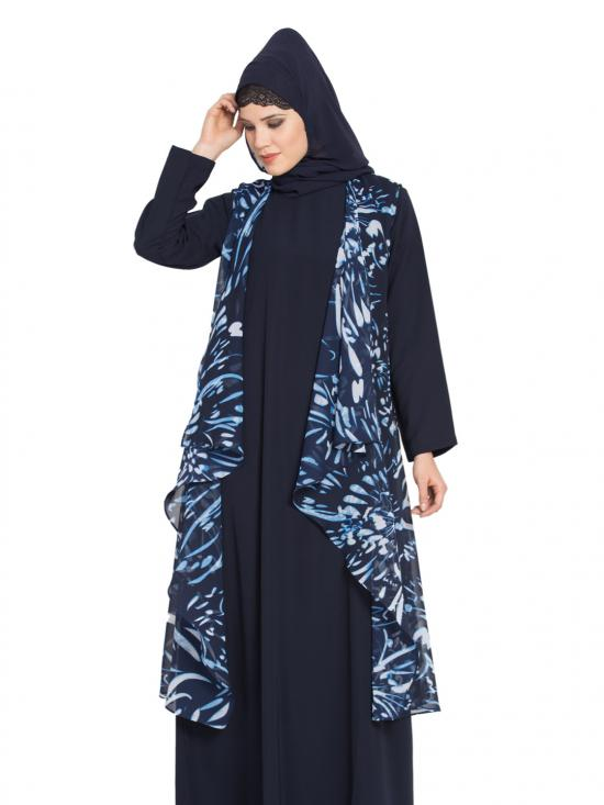 Printed Georgette Sleeveless Free Size Shrug in Navy Blue