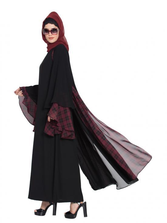 Nida Matte Multi layered Designer Abaya in Black and Maroon