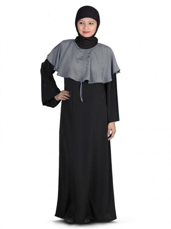 Nida Matte Aimal Abaya In Black And Grey