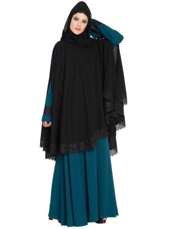 Nida Matte Modest Abaya with cape in Black and Teal