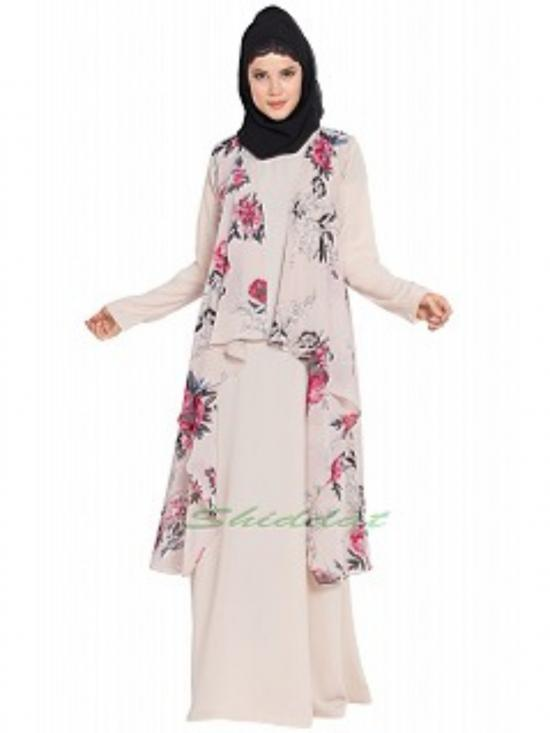 Nida Mate And Georgette Two Pieces Set Abaya With Printed Shrug In Beige