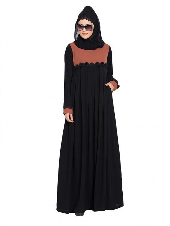 Nida Matte Designer Pleated Abaya In Rust And Black