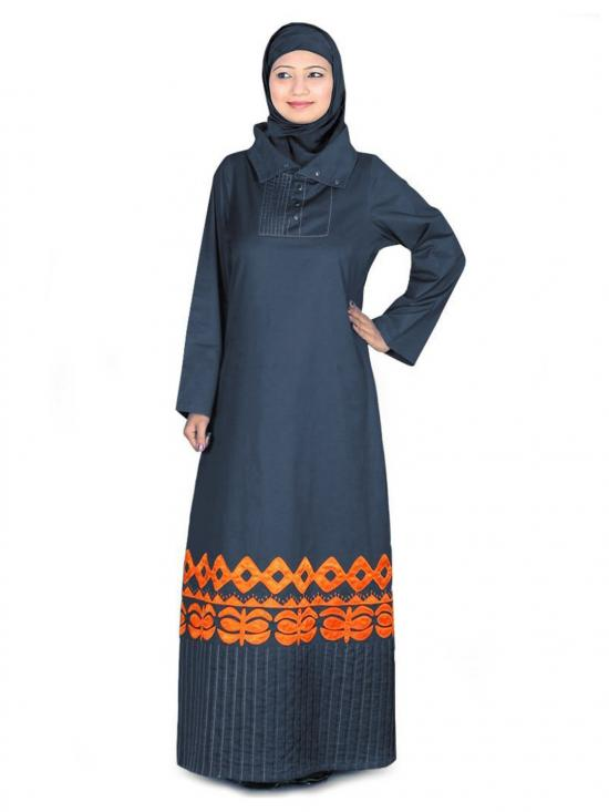 100% Cotton Afran Abaya In Charcoal
