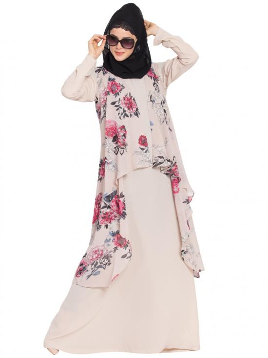 Printed Georgette Sleeveless Free Size Shrug in Beige