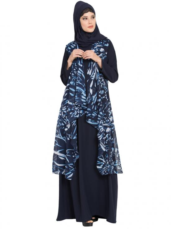 Nida Mate Abaya With Georgette Printed Shrug Two Pieces Set In Navy Blue And White