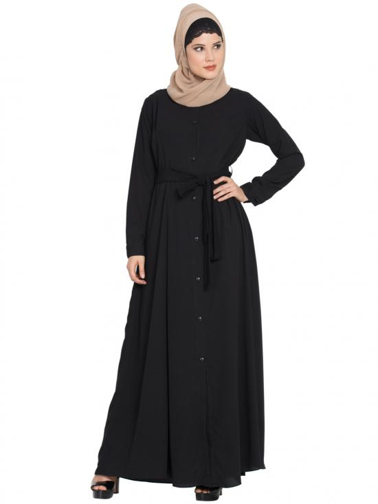 Nida Matte Front Open Abaya With Box Pleats In Black