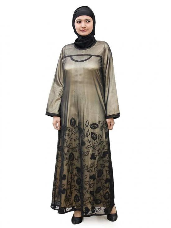Net Sabeen Abaya In Black And Gold