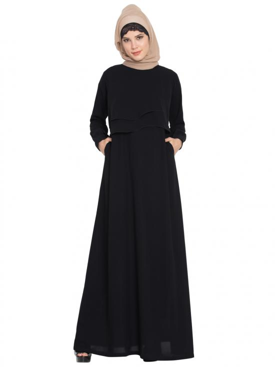 Nida Matte Abaya With Extra Two Layers On Yoke In Black
