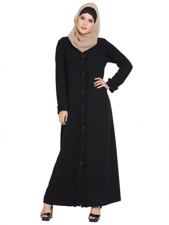 Nida Matte Front Open Abaya With Frills On Panels And Sleeves In Black