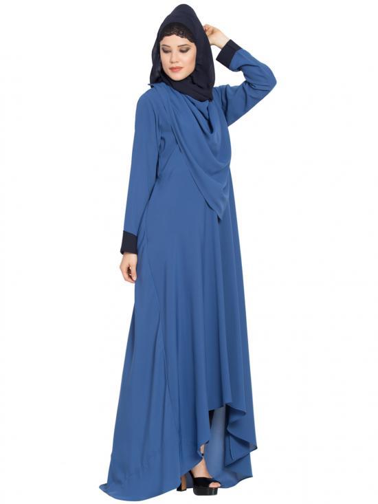 Nida Matte Abaya With Detatchable Shawl In True Blue
