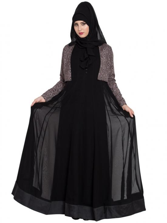 Super Fine Georgette Abaya With Dual Layer and Contrast Jacket in Black and Multi