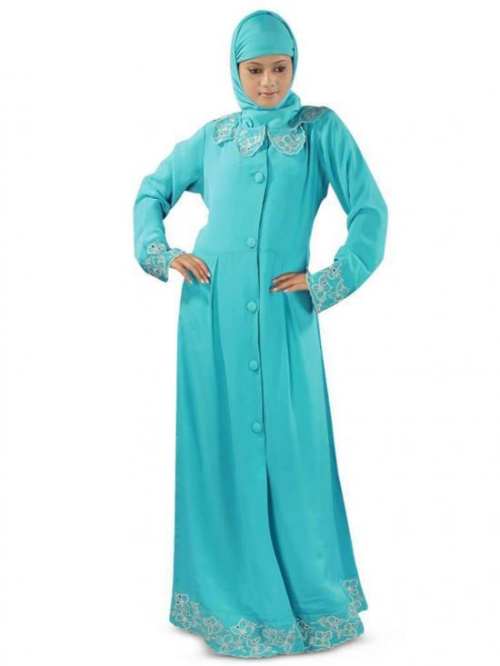 Crepe Nafisa Abaya In Turquoise