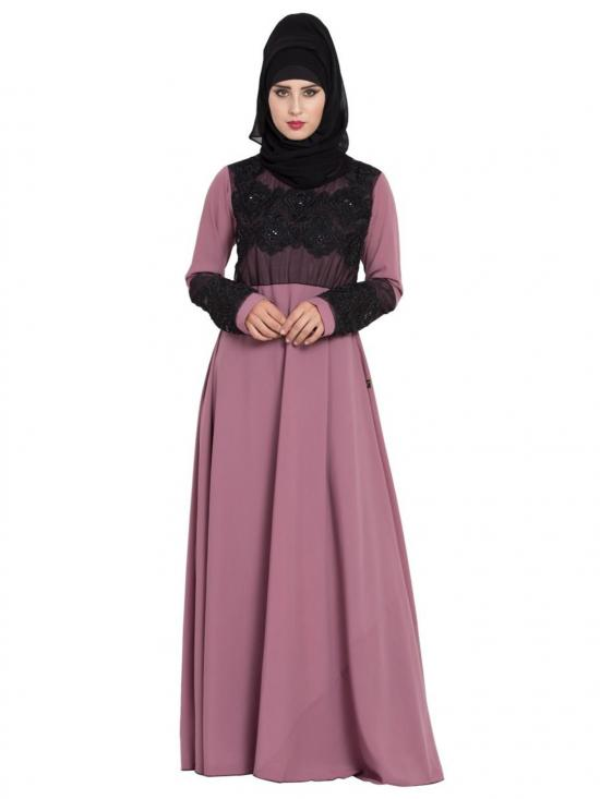 Nida Matte Abaya With Fancy Work On Yoke And Sleeves In Puce Pink