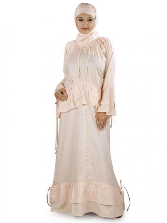 100% Cotton Tahira Abaya In Peach