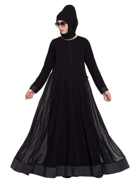 Super Fine Georgette Dual Layer and Loop Buttons Abaya in Black