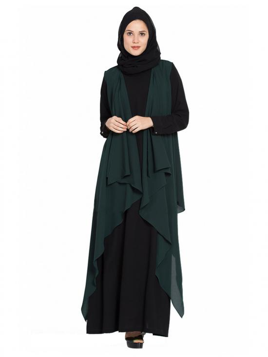 Nida Mate Two Pieces Set Abaya With Shrug In Black And Dark Green