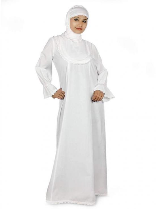 100% Cotton Faria Abaya In White