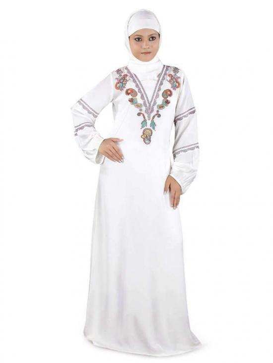 Crepe Nigar Abaya In White