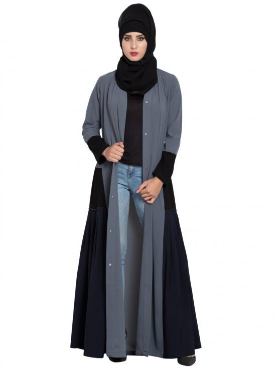 Nida Matte Abaya with Pleated Side Panels in Grey and Multi