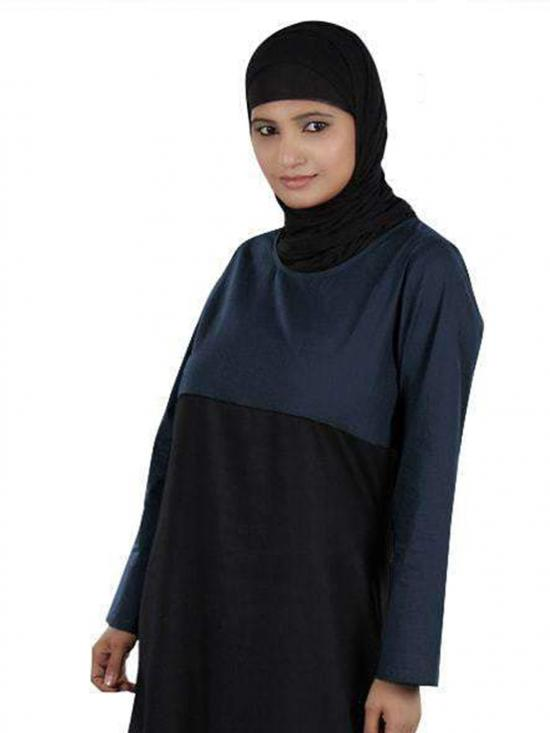100% Cotton Jameela Abaya In Black And Navy Blue
