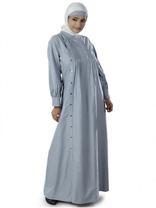 100% Cotton Abeerah Abaya In Ice-Blue