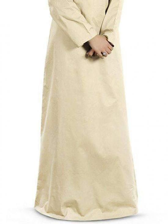 100% Cotton Fahima Abaya In Cream And Navy Blue