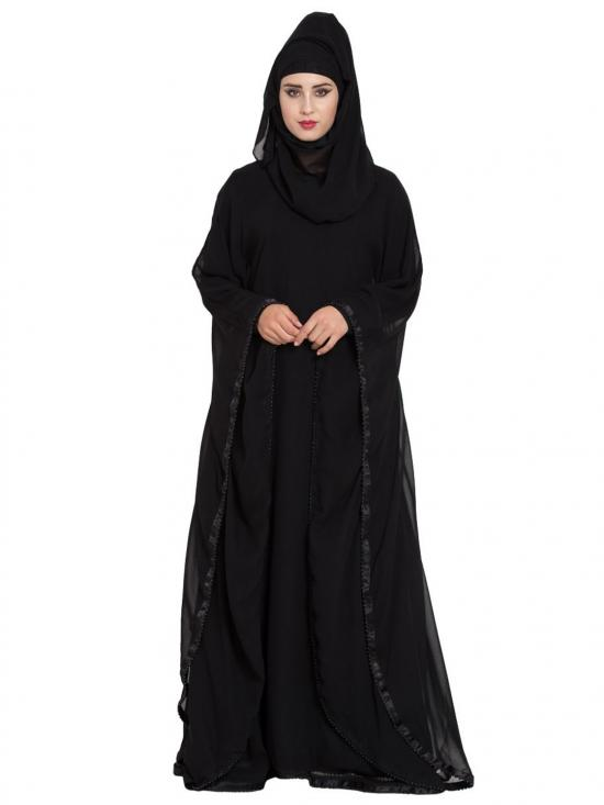 Nida Mate Georgette Designer Abaya With Pearl Lace Borders In Black