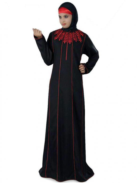 Rayon Nurjenna Abaya In Black And Red