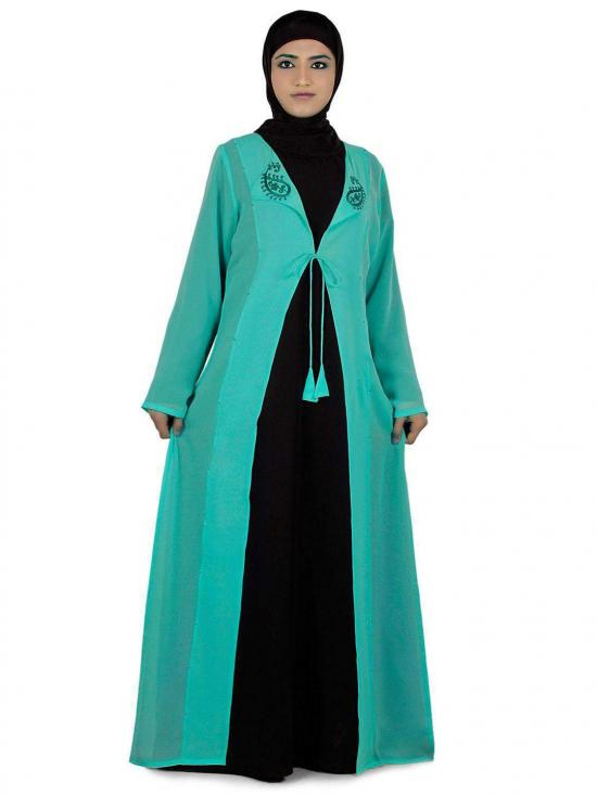 Nida Matte Omera Two Piece Abaya In Black And Turquoise