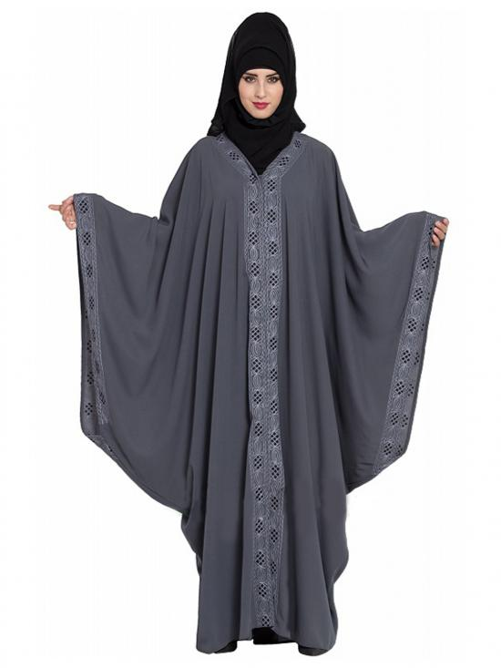 Nida Matte Arabian Style Designer Kaftan With Attached Falling Head Cover In Grey