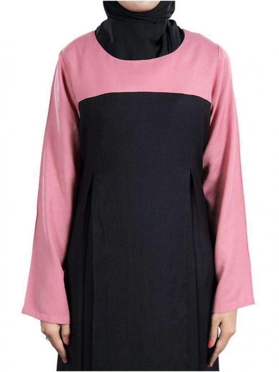 Rayon Eliza Abaya In Black And Pink
