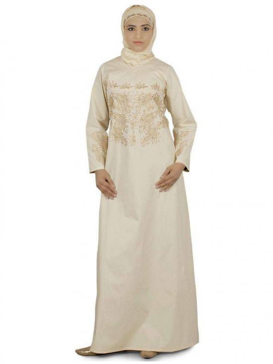 100% Cotton Sakina Abaya In Cream