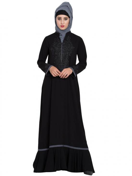 Nida Mate Embroidered Abaya With Designer Bottom And Contrast Piping In Black