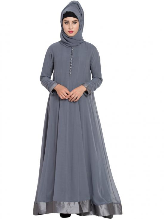 Nida Mate Georgette Dual Layer Abaya With Loop Buttons In Grey