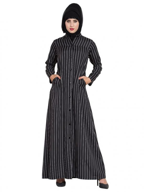 American Crepe Front Open Abaya With Stripes In Black And White