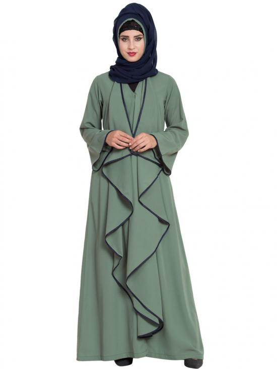 Nida Mate Abaya With Falling Panels In Jade Green