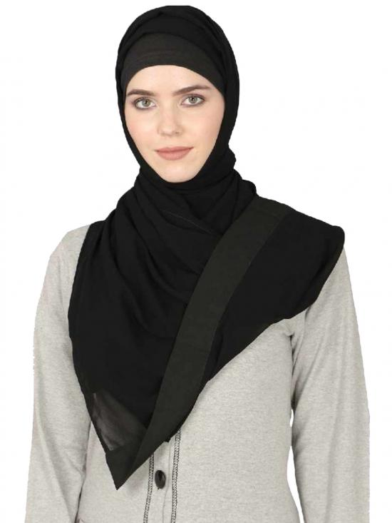 Georgette Band Plain Hijab In Black