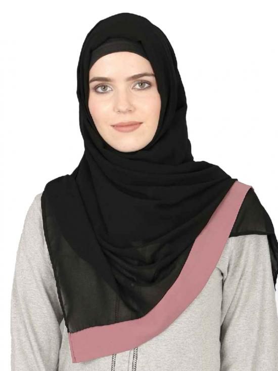 Georgette Band Plain Hijab In Black And Mauve