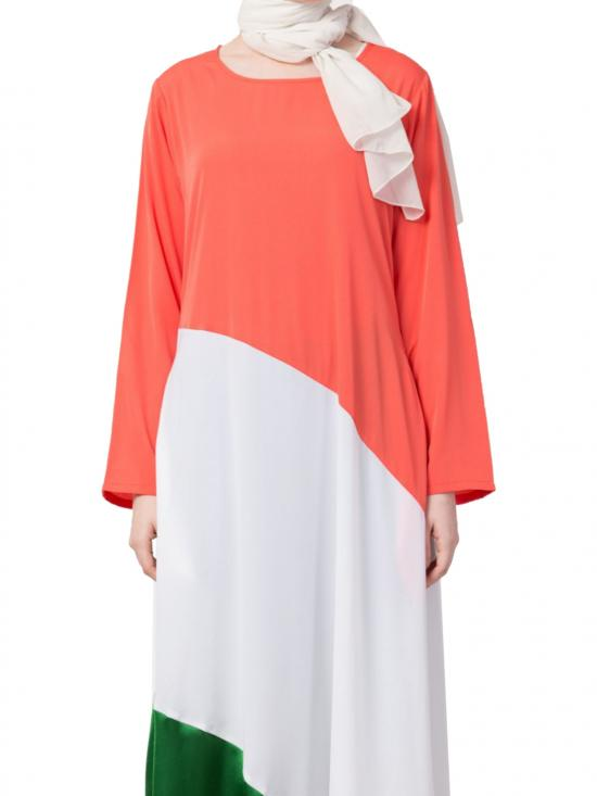 polyester Crape asymmetrical Abaya In Saffron White And Green