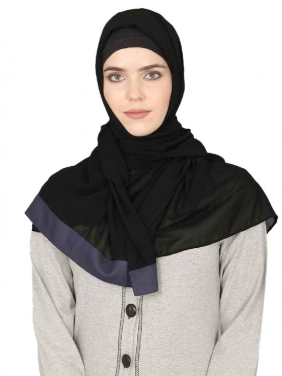 Georgette Band Plain Hijab In Black And Blue