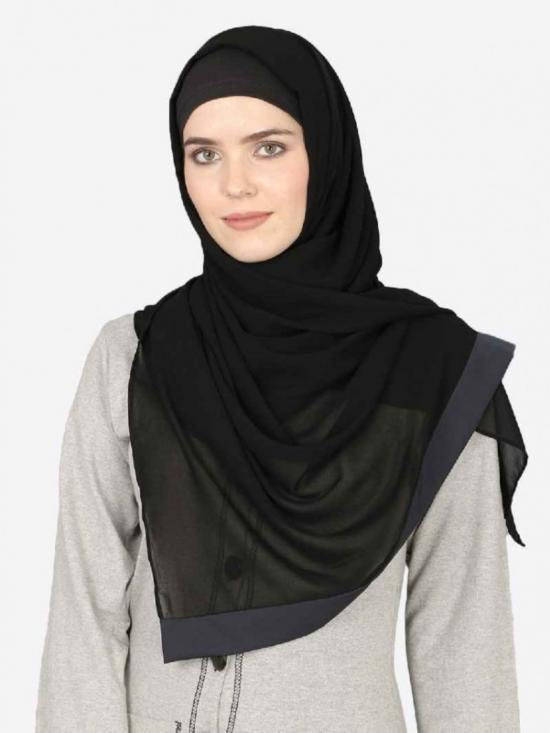 Georgette Band Plain Hijab In Black And Navy