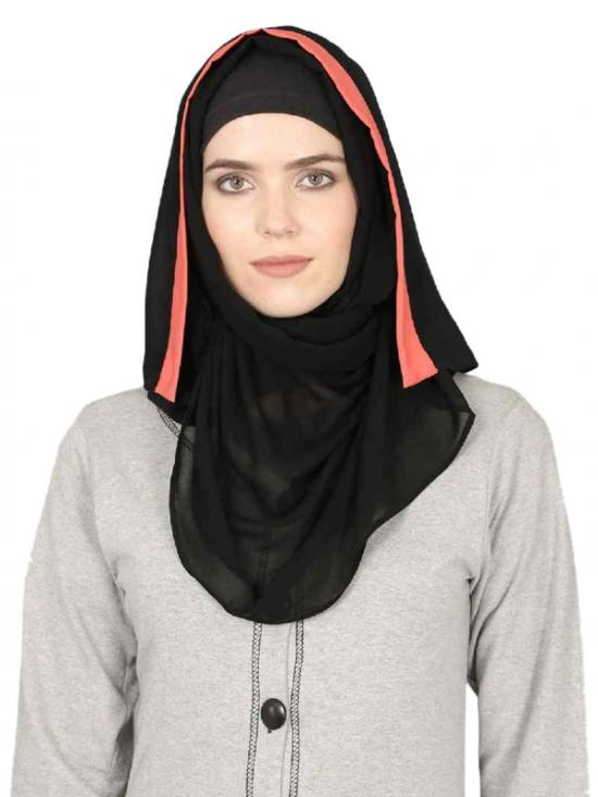 Georgette Band Plain Hijab In Black And Orange