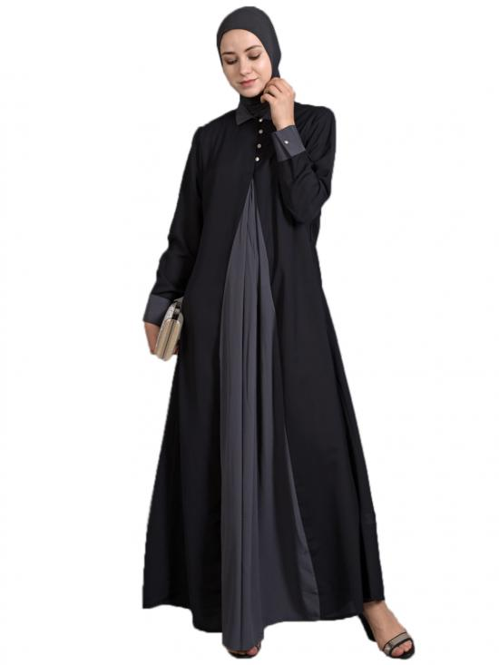 Polyster Crepe Contrast Yoke Casual Abaya In Black And Grey