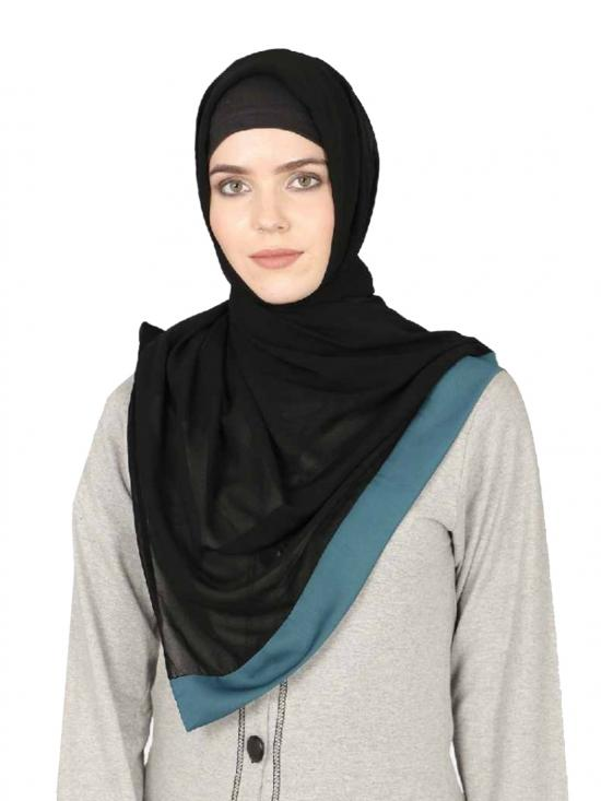 Georgette Band Plain Hijab In Black And Teal
